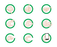 Business hand gestures icons green Stock Photos