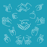 Business hand gestures linear icons Royalty Free Stock Photo