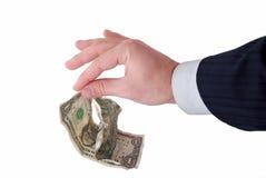 Business hand grabbing money. Against white Stock Photo