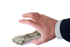 Business hand grabbing money. Isolated on white Stock Image