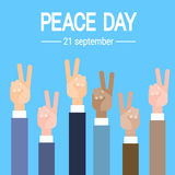 Business Hand Group Peace Sign World International Holiday Poster Stock Photo