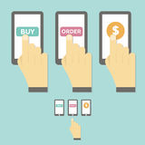Business Hand Hold Touch Screen Mobile Phone Royalty Free Stock Photo