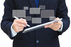 Business hand hold touch screen tablet computer Stock Photo