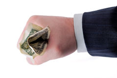 Business hand holding cash. Isolated on white Royalty Free Stock Photo