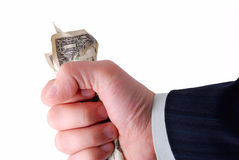 Business hand holding cash. Isolated on white Royalty Free Stock Photography