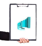 Business hand holding a clipboard with business graph. Chart Stock Photography