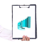 Business hand holding a clipboard with business graph Royalty Free Stock Images