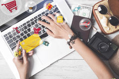 Business hand holding credit card. cart shopping online payment Royalty Free Stock Images