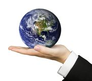 Business hand holding earth Stock Photo