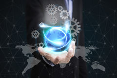 Business hand holding globe earth concept business social. Stock Image