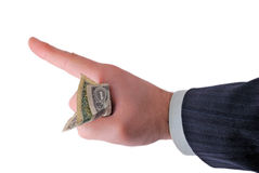 Business hand holding money. Isolated on white Royalty Free Stock Photography