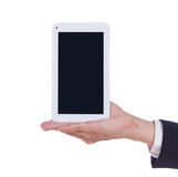 Business hand holding a small tablet touch computer Stock Photo