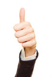 Business hand holding thumbs up Royalty Free Stock Photography