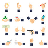 Business Hand Icons Flat. Business hand with different objects icons flat set isolated vector illustration Royalty Free Stock Photography