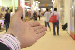 Business hand introduces. Canton Fair Royalty Free Stock Images