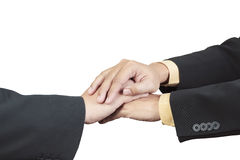 Business hand joined for teamwork Stock Photos