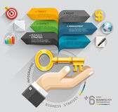 Business hand with key and bubble speech arrow template. Stock Photography