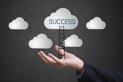 Business hand with ladder conquer success on cloud. Concept  business successful leader creative Royalty Free Stock Images