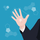 Business hand the modern circle virtual screen over blue backgro. Und vector, business and technology concept Royalty Free Stock Images
