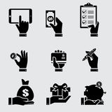 Business hand with object icons set. Vector illustration Royalty Free Stock Photo