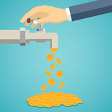 Business hand open tap with gold coins. Stock Photography