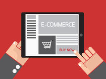 Business hand order e-commerce website on tablet. Royalty Free Stock Photo