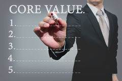 Business hand with pen mark core value Royalty Free Stock Photos