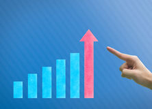 Business hand point point graph Stock Photos