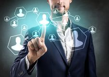Business hand point to social network. Social Network concept royalty free stock photo