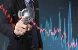 Business hand point Trading Stock Graph Chart homepage. Invesment analysis concept Stock Images