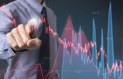 Business hand point Trading Stock Graph Chart homepage. Stock Image