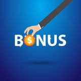 Business hand pointing bonus concept, vector Royalty Free Stock Images