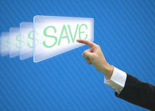 Business hand pointing save word Stock Images