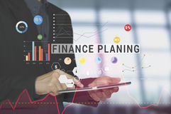 Business hand pointing tablet with Finance planing homepage Stock Image