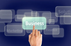 Business hand press touch screen Royalty Free Stock Photo