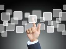Business hand press touchscreen stock photos