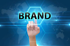 Business Hand pressing brand signs button Royalty Free Stock Image