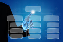 Business hand pushing organization chart Stock Image