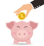 Business Hand Putting Gold Coin Into Cute Piggy Bank, Saving conept Stock Photo