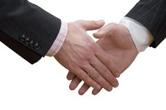 Business hand shake. Business handshake over white background Royalty Free Stock Photography