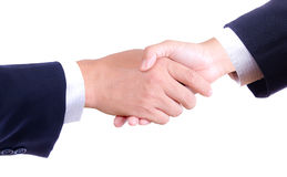 Business hand shaking isolated Royalty Free Stock Photos
