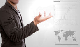 Business hand show graph. Royalty Free Stock Photography