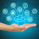Business hand showing cloud computing. Concept of business model Stock Images