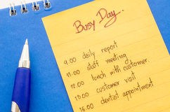 Business hand writing appointment schedule. Stock Image