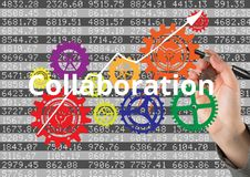 Business hand writing COLLABORATION with cogs and arrow. Numbers behind. Digital composite of Business hand writing COLLABORATION with cogs and arrow. Numbers Royalty Free Stock Image