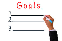 Business Hand writing with pen marker goals to attain. vector illustration