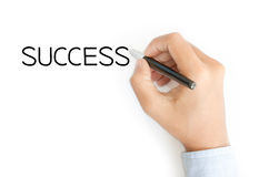 Business hand writing success on white Royalty Free Stock Photography