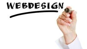 Hand writing the word Webdesign Stock Image