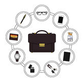 Business handbag contents Stock Photography