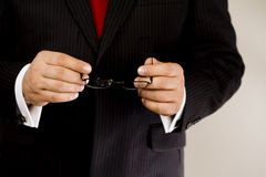 Business hands. Man in suit Stock Images